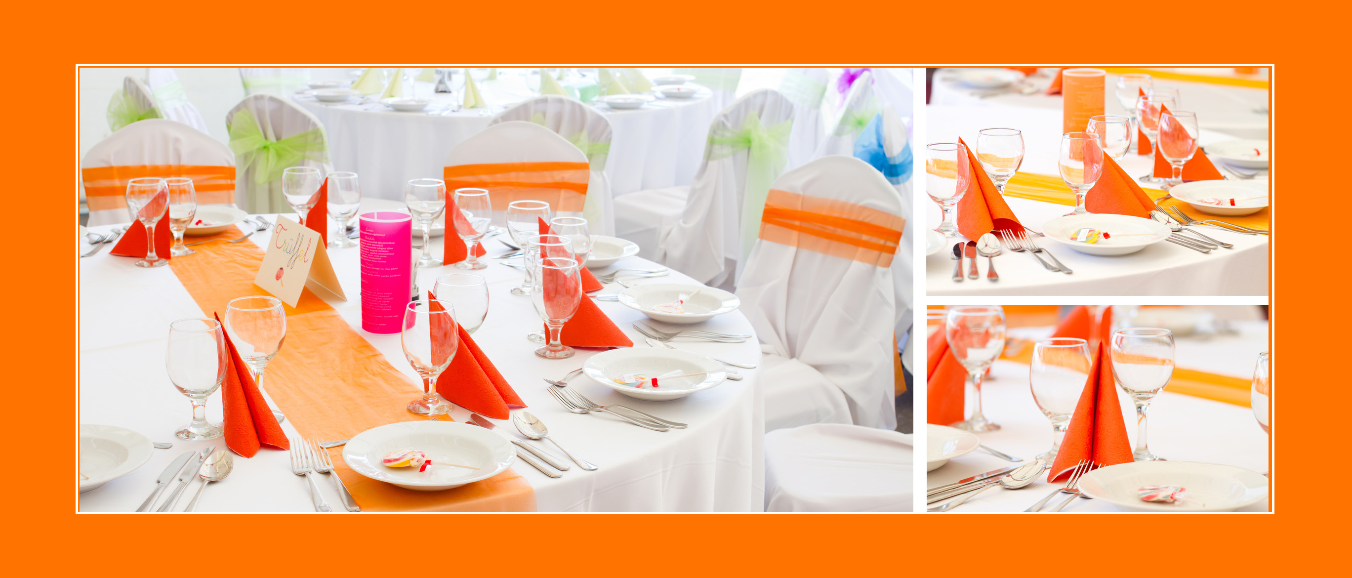 Geburtstagstischdeko in Orange/Pastellorange