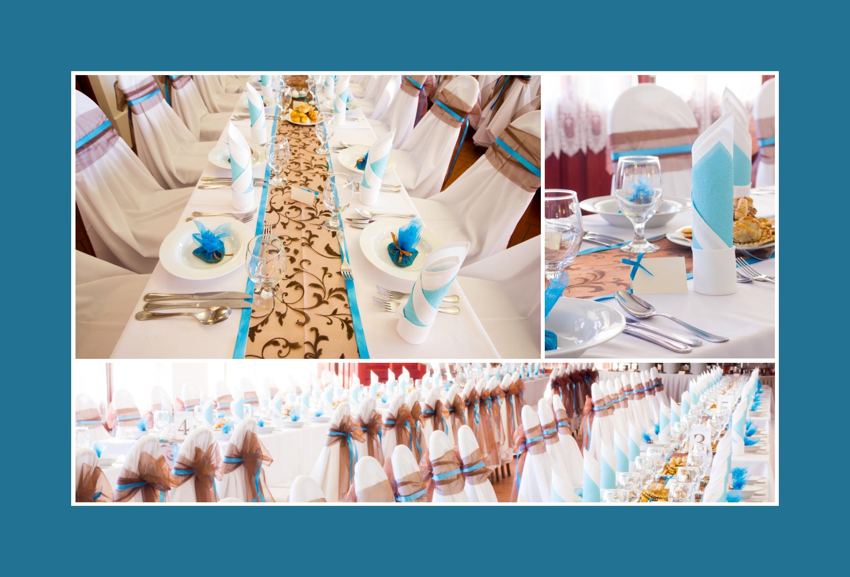 Hochzeitstischdeko tuerkis braun