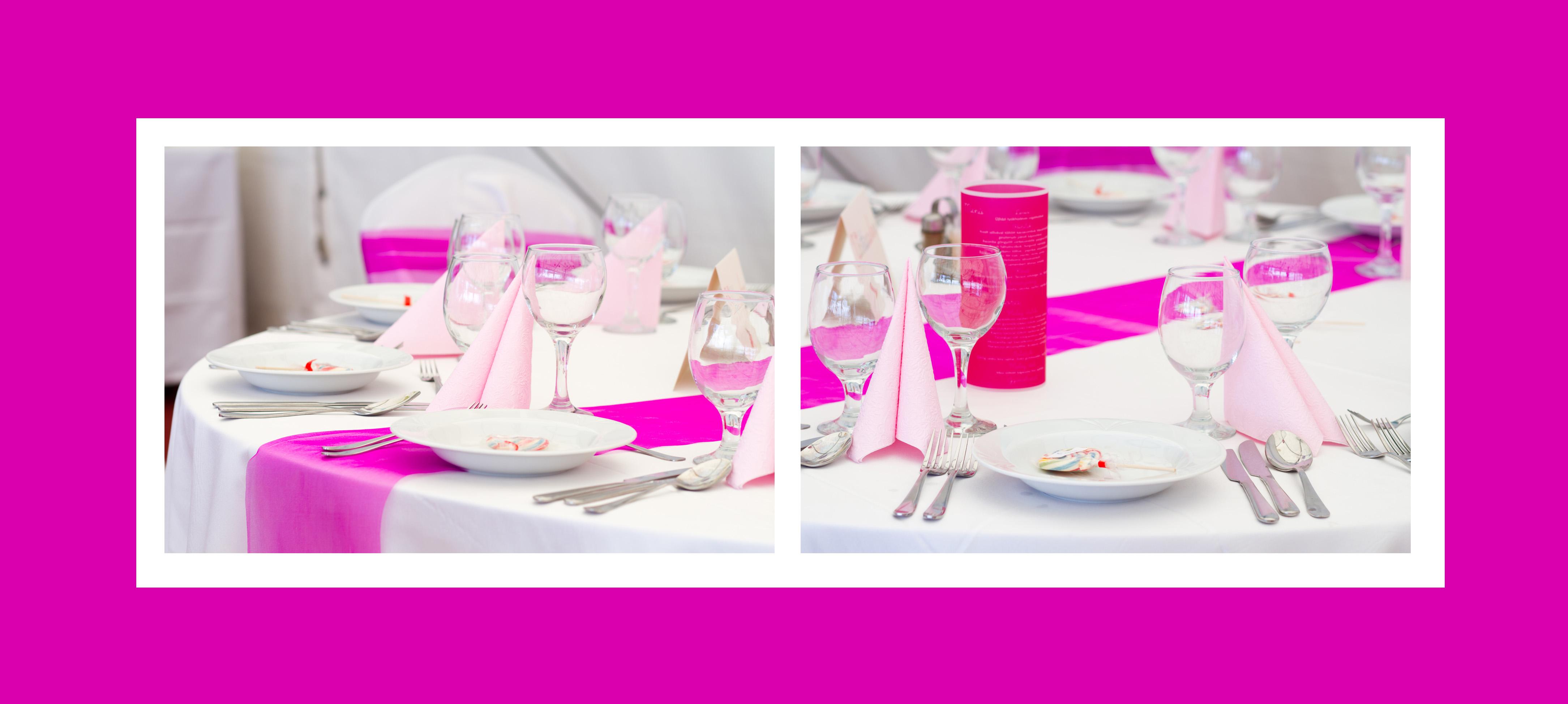 Tisch für Kindergeburtstag dekorieren in Rosa-Pink
