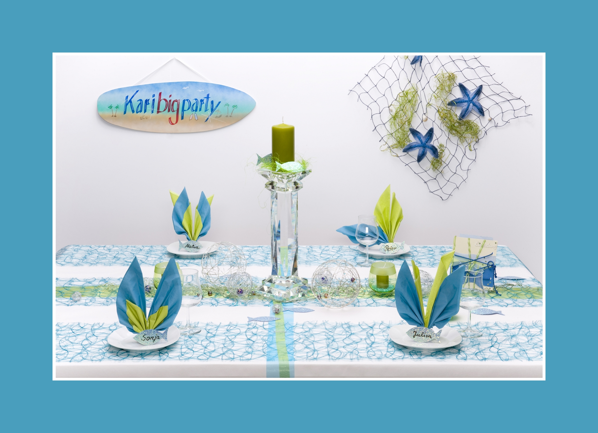 Tischdeko Geburtstag Mustertisch Blau Gelboliv