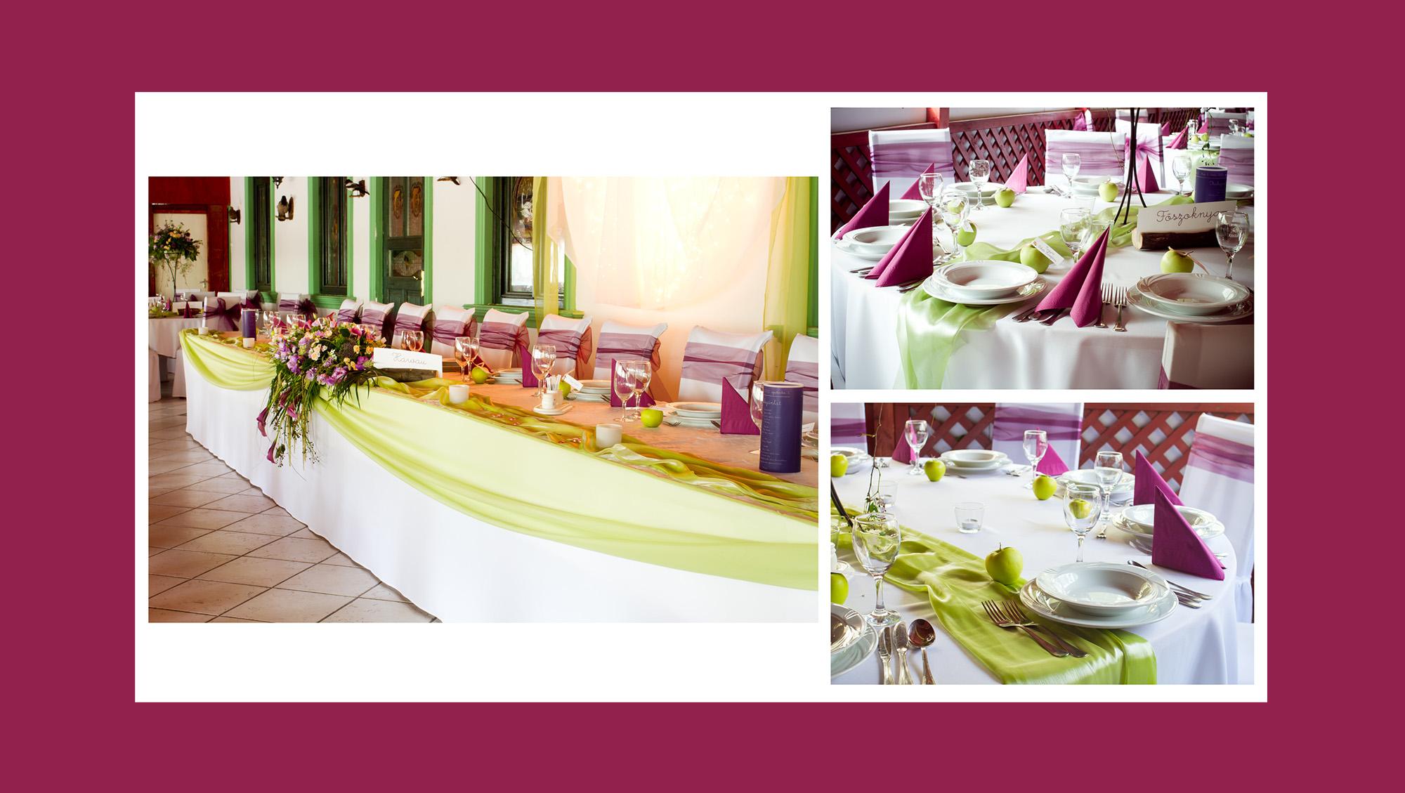 Tischdeko Gelbgrün & Pink-Lila – Hochzeit/Geburtstag