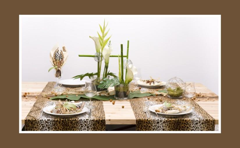 Tafeldeko für eine Dschungel-Party