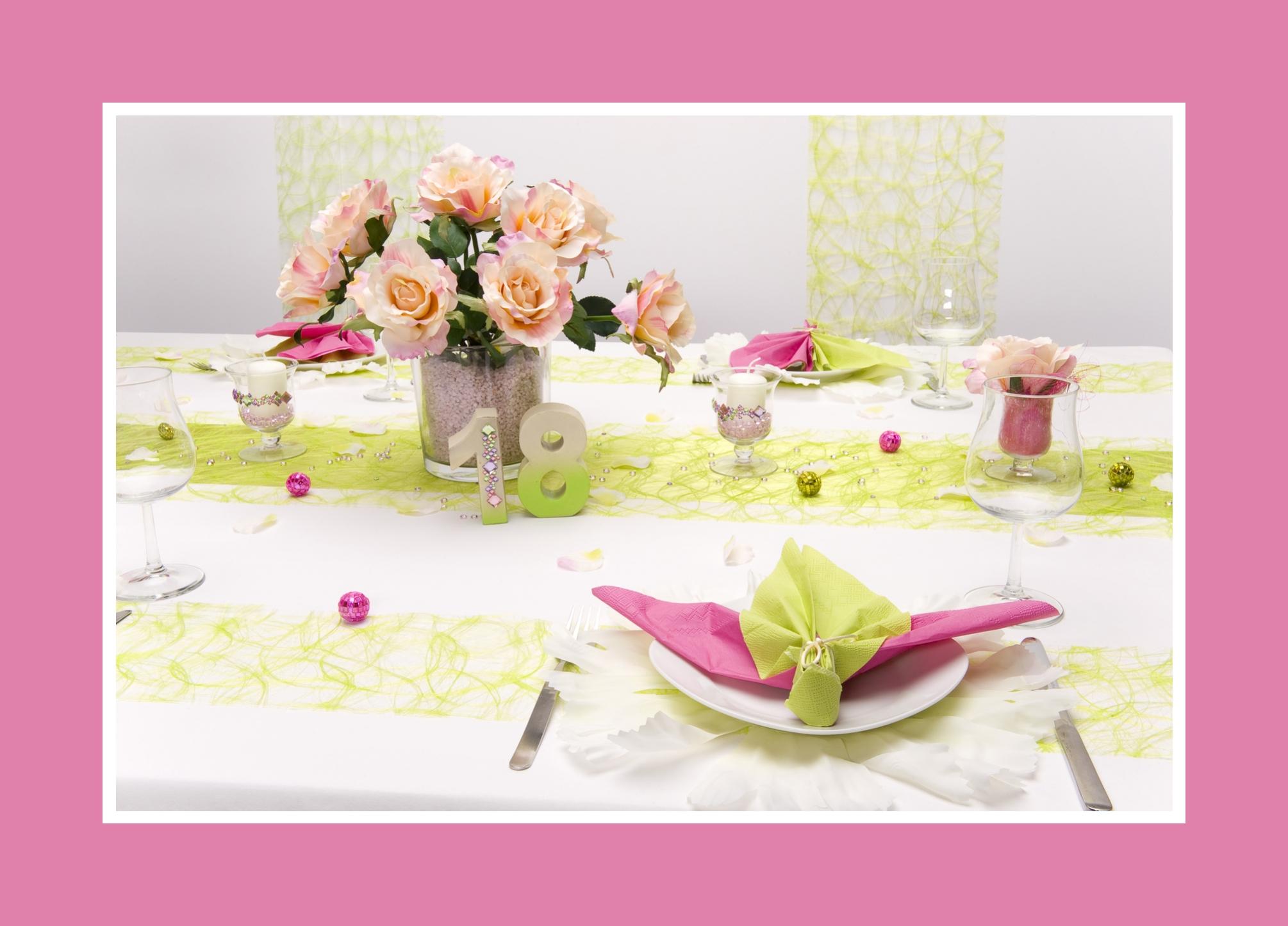 Tischdeko 18. Geburtstag : feierlich und positiv in Grün und Rosa