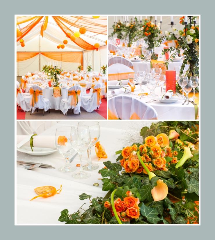 Blumige Hochzeitsdeko: orange Rosen