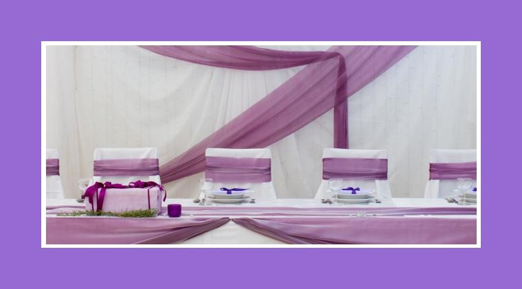 Lila Tischdeko für Brauttisch