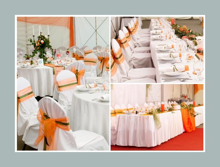 Orangene Akzente der Hochzeitsdeko