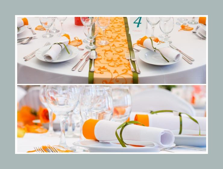 Orangene Tischläufer und Servietten auf runden Tischen
