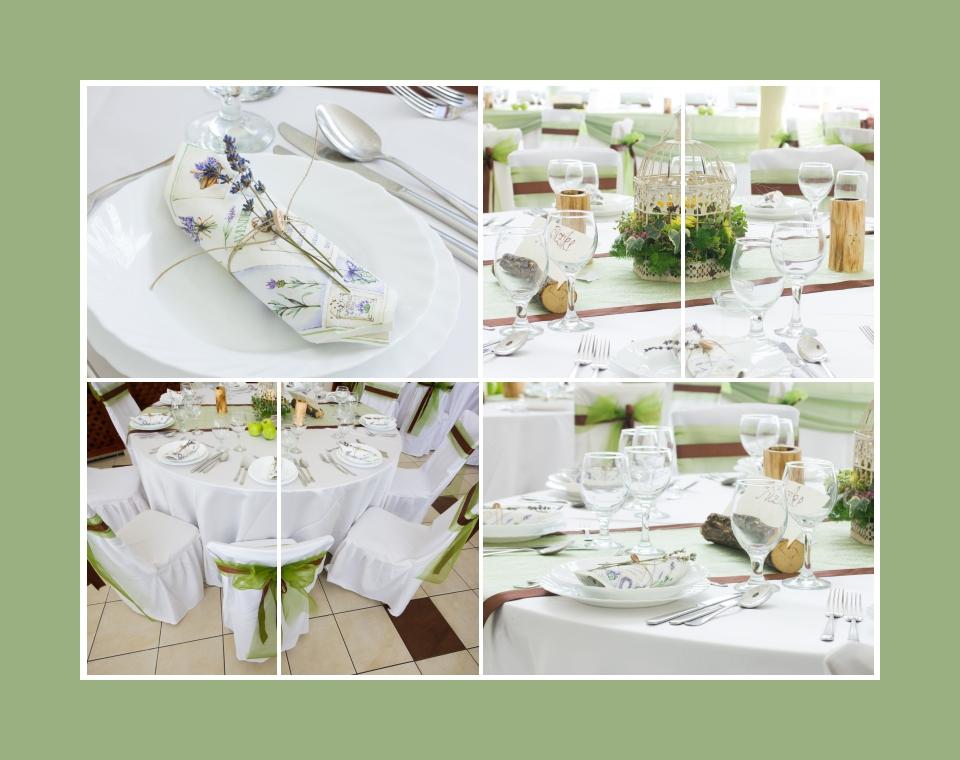 Sandgrüne Tischdeko im Provence, Rustik, Öko Stil