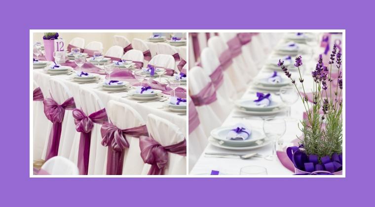 Stuhlhussen mit glänzenden violetten Schleifen