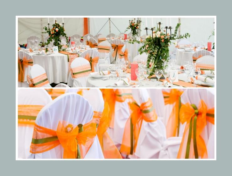 Stuhlhussen mit orangen Schleifen