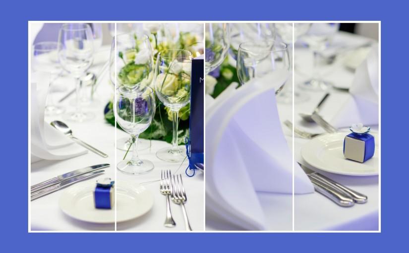 Royal blaue Tischdeko