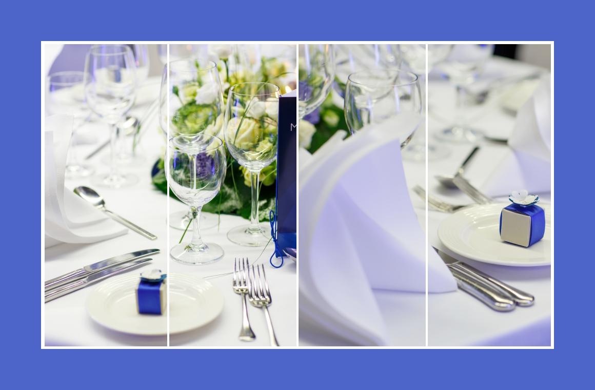 Tischdeko in kühlem royalen Blau