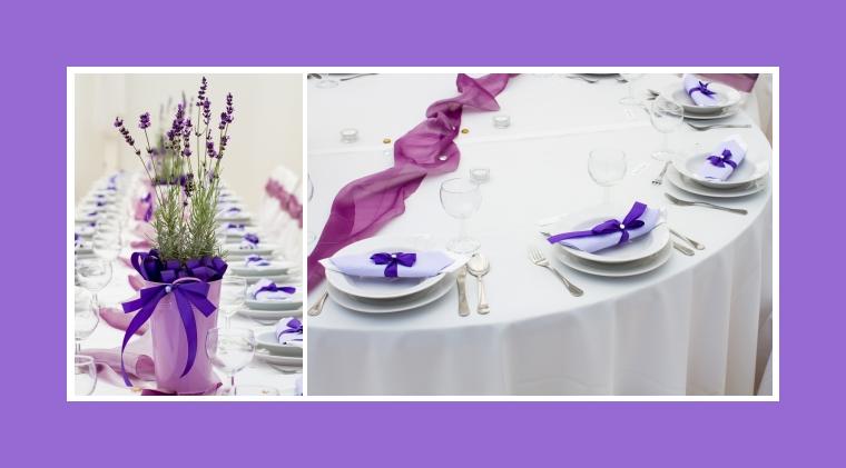 Tischdeko mit Blumenschmuck aus Lavender