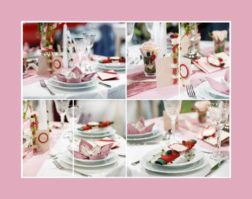 Tischdeko mit Dekoration aus Beeren