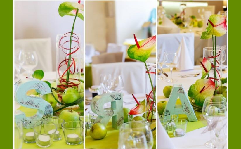 Tischdeko im saftig-grünen Apfelthema