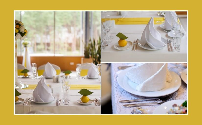 Gelbe Tischdeko mit Zitronenfrische