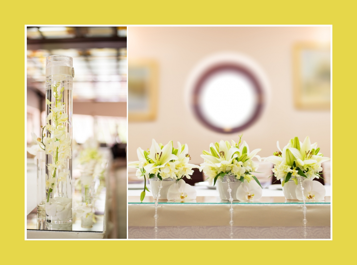 Blumengestecke lange Vase
