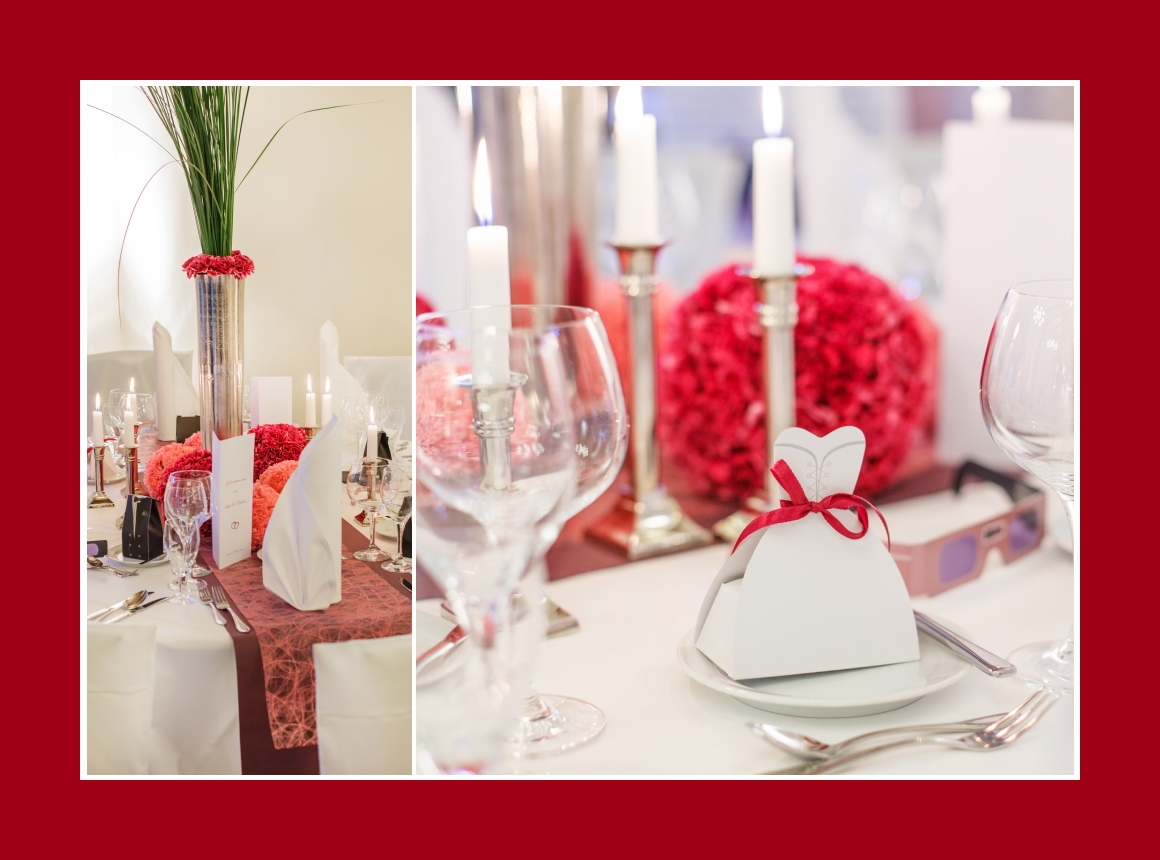 Gastgeschenke zur Hochzeit und üppige Blumengestecke als Hochzeitsdeko