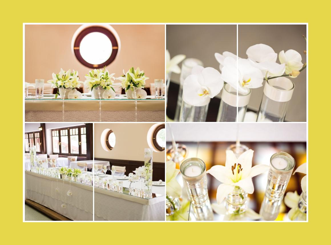 Hochzeitdeko in Weiß und Grün
