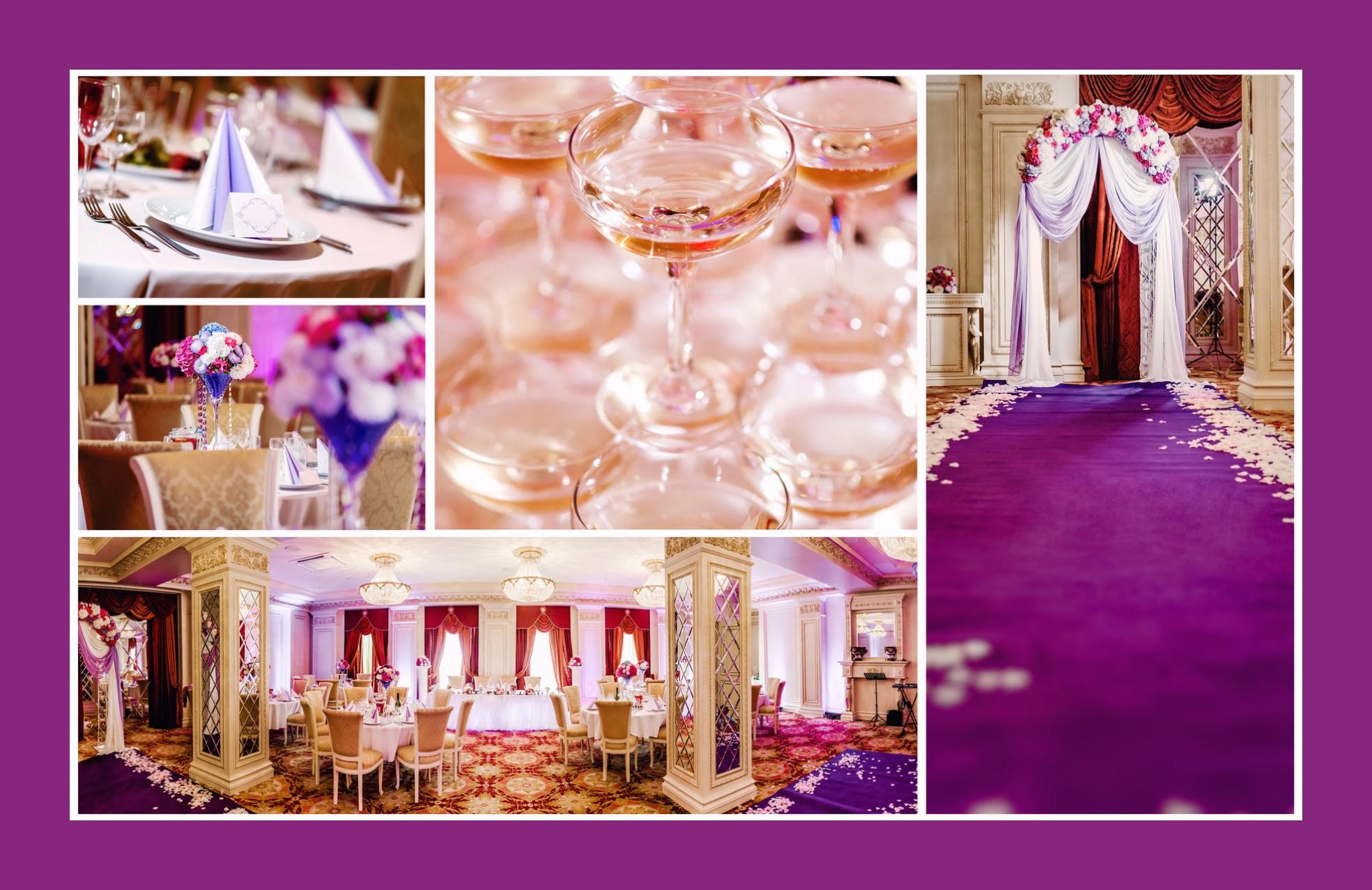 Königliche Hochzeitsdeko in Purpur