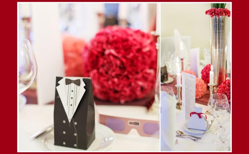 Tischdeko für stivolle Hochzeit in Scharlachrot & Puderrosa