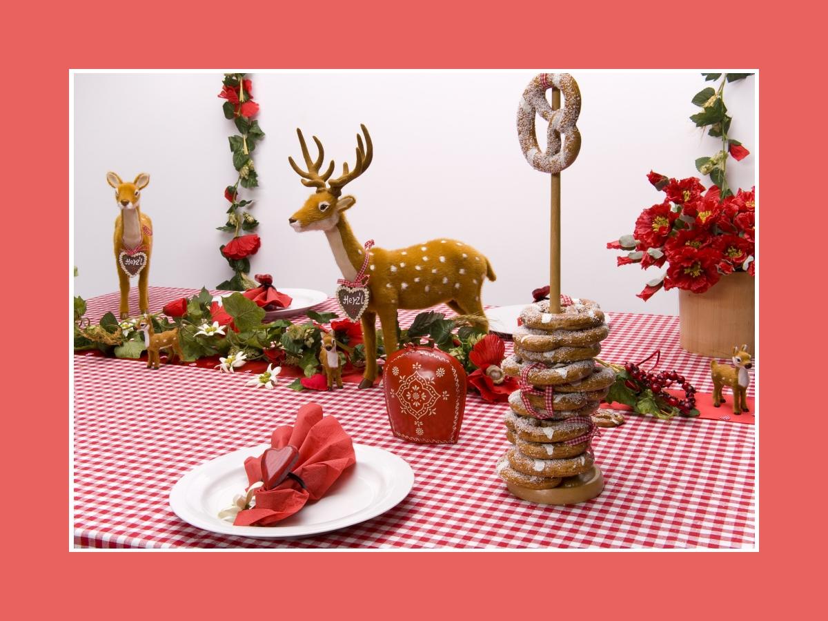 Tischdeko mit Brezeln als Gastgeschenke