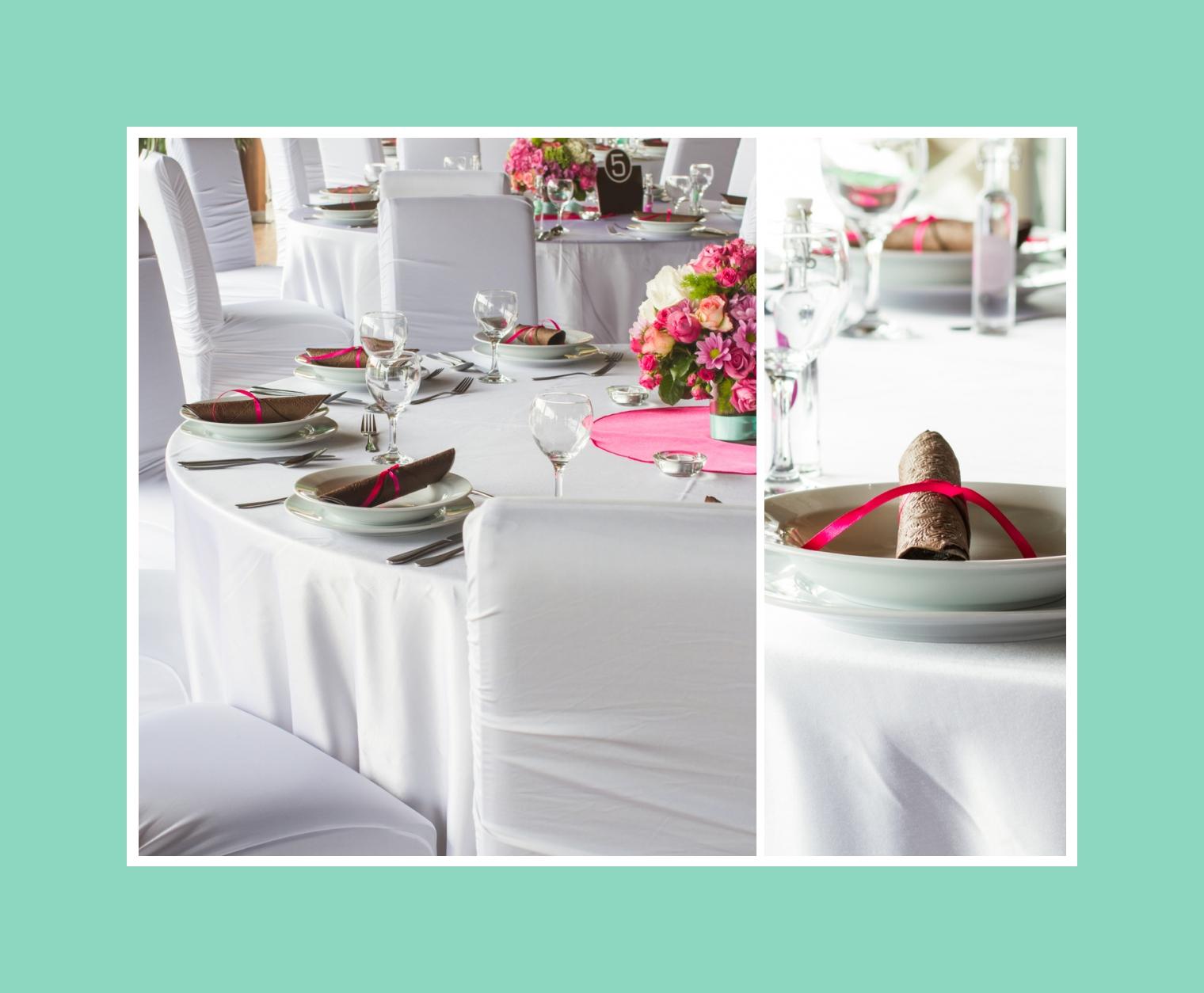 Elegante Tischdeko in Braun, Rosa, Minze