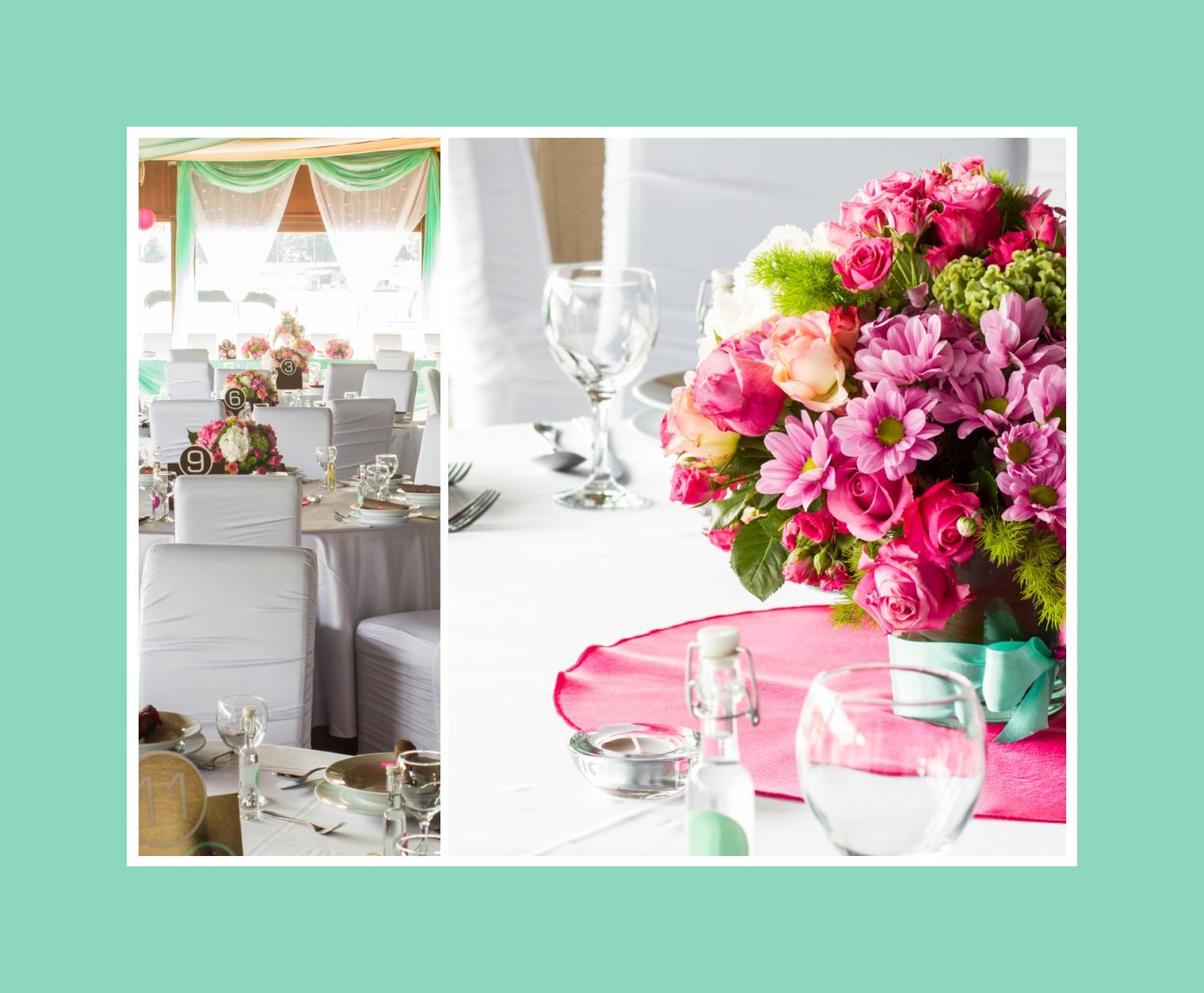 Schicke rosa Blumengestecke