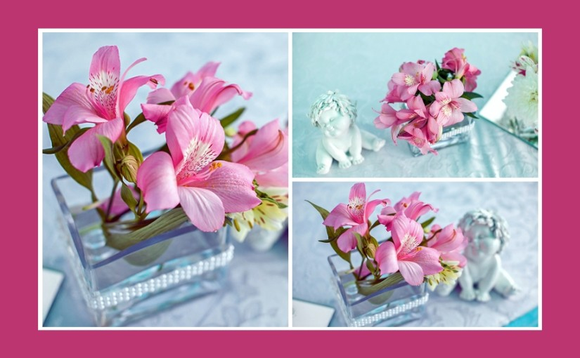 Rosa Blumendeko mit Engelfiguren – Taufe