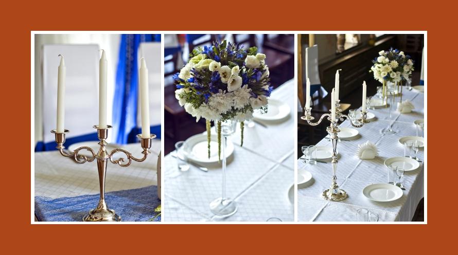 Kerszenstaender Dekoration Blumen Hochzeit weiss Blau Geburtstag