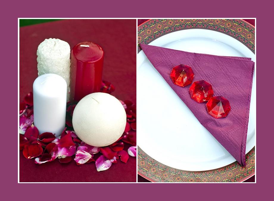 Kerzen Geburtstag Dekoration Tisch Servietten Konfirmation Kommunion Rot Lila