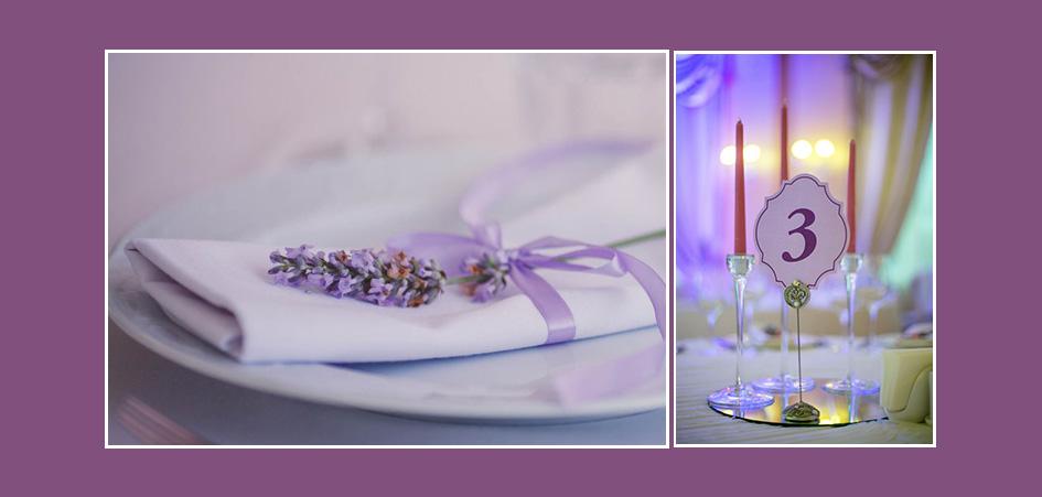 Servietten mit Blumen in Lila Tischnummern Kerzen