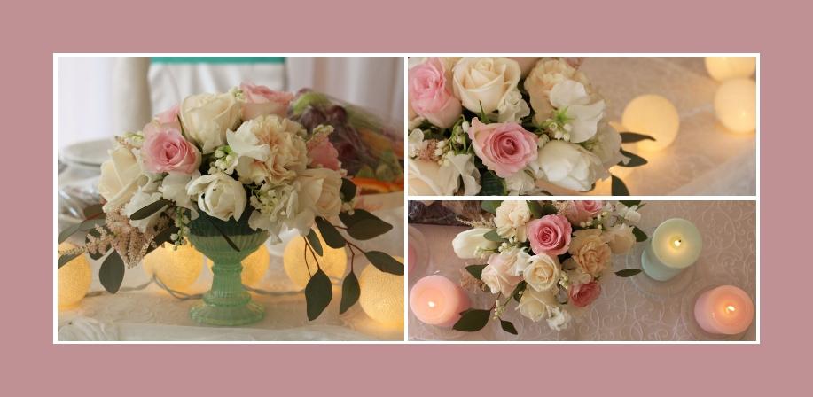 Taufe Dekoration Blumen Kerzen2