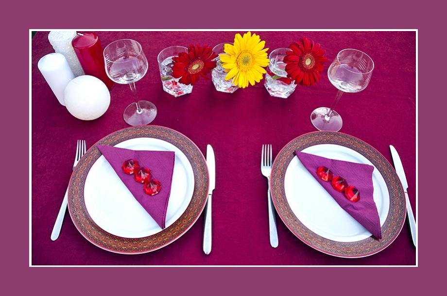 Tischdeko Geburtstag Lila Rot Kommunion Konfirmation Hochzeit