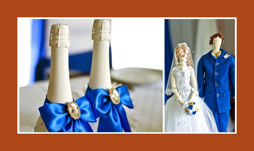 Tischdeko Sekt brautpaar figuren weiss blau