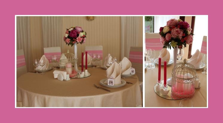 Beispiel einer Tischdekoration in Rosa – Taufe