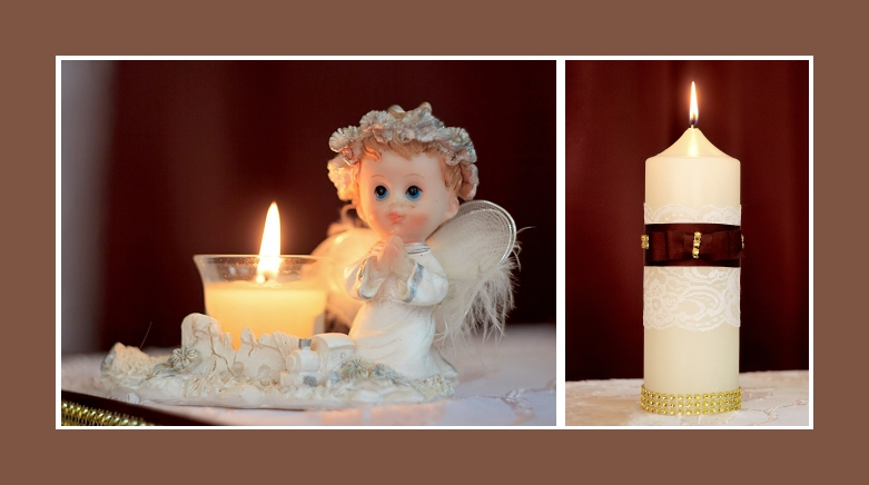 Kommunion tisch deko kerzen engel