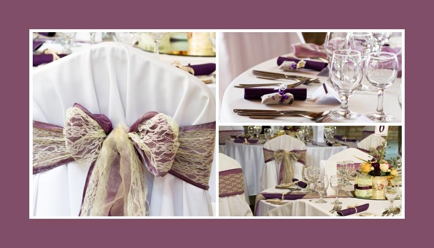 Stuhldeko lila mit cremefarbener Spitze Provence Stil