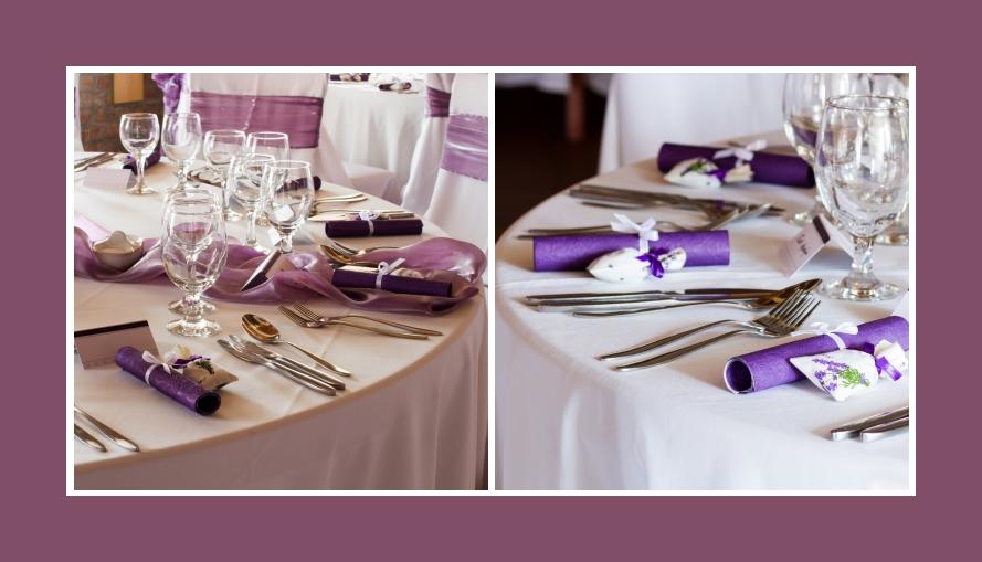 Tischdeko mit lila Tischläufer aus Organza und Servietten