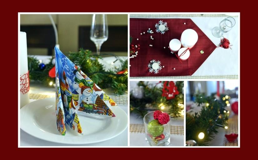 Tischdeko Idee zu Weihnachten mit Serviettendeko
