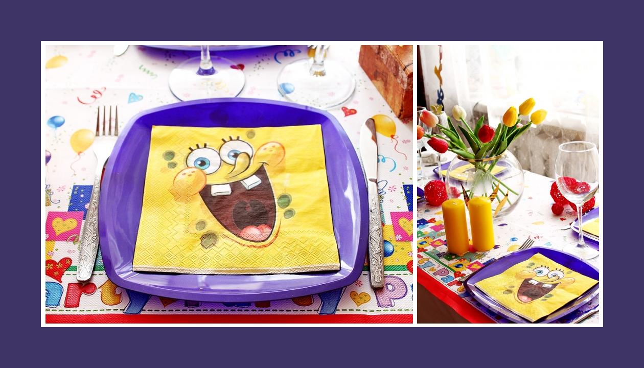 Bunte Deko Idee zum Kindergeburtstag Sponge Bob